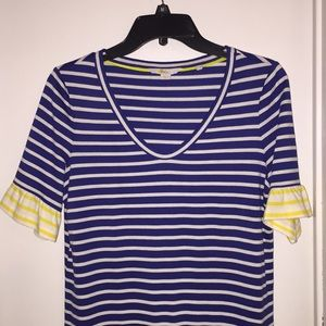 Boden knit stripe dress with flounce sleeves